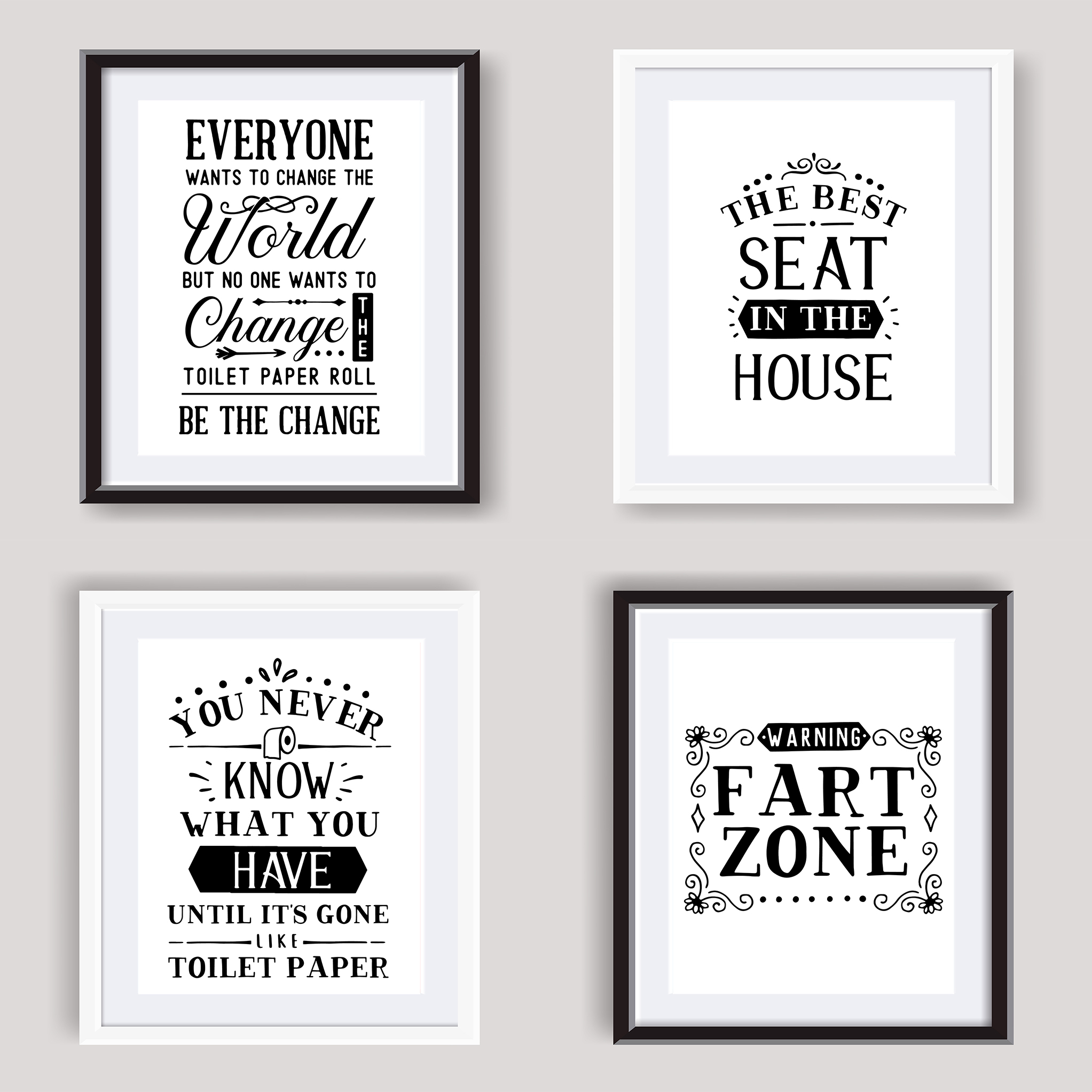 Funny Bathroom Wall Art Poster Black And White Bathroom Prints Toilet Pictures Ebay