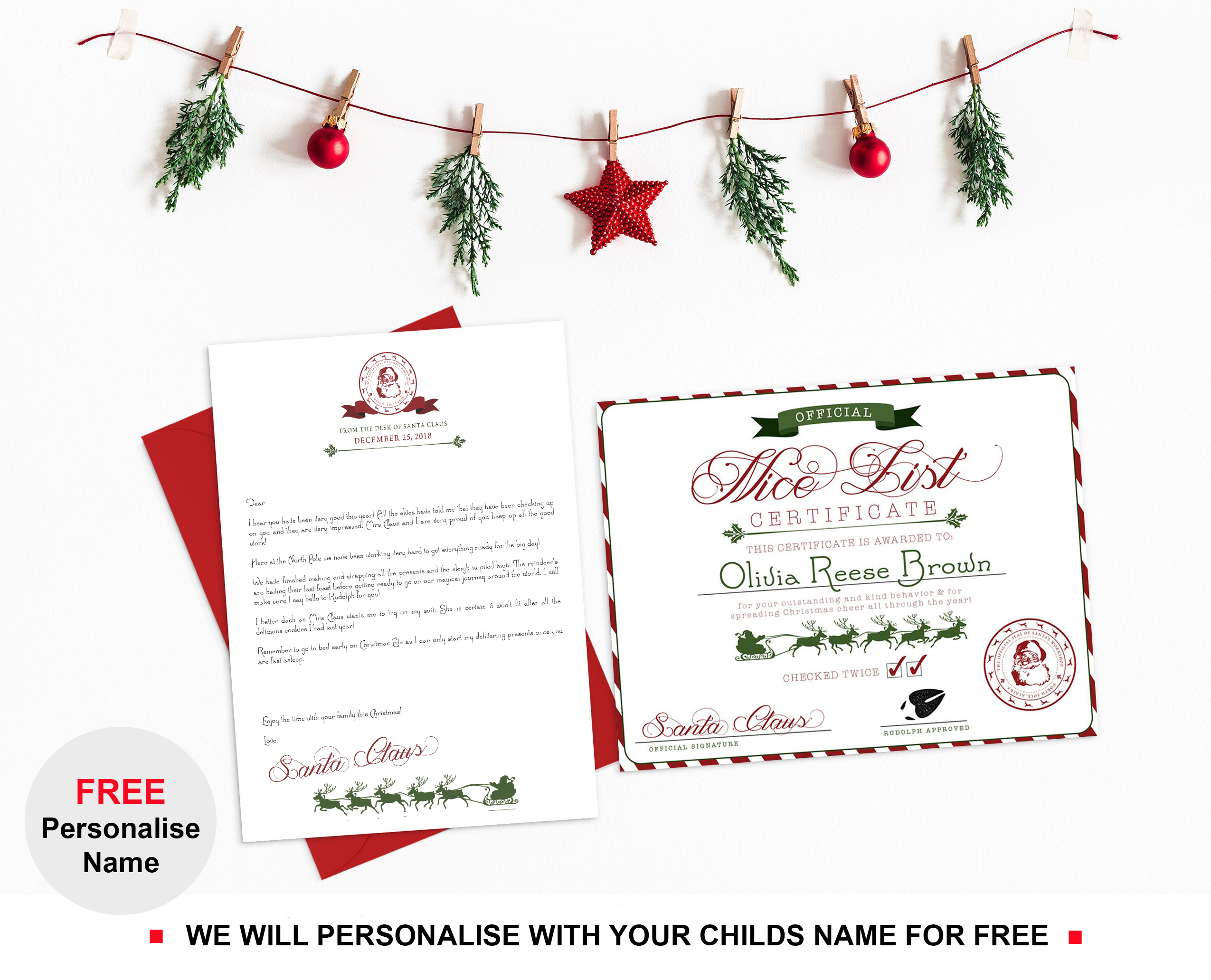 Personalised Letter From Santa Claus Father Christmas Nice List Certificate Ebay